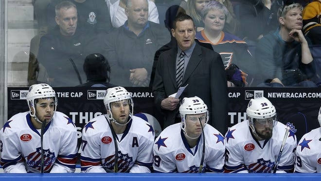 Amerks' head coach Randy Cunneyworth during the game against Lehigh Valley in the first period at the Blue Cross Arena at the War Memorial.