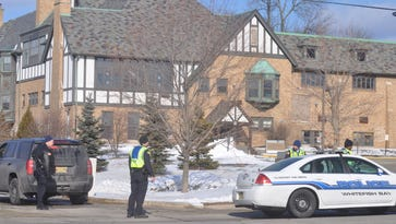 Whitefish Bay police officers blockade the perimeter of the Harry and Rose Samson Family Jewish Community Center on Tuesday, Jan. 31.