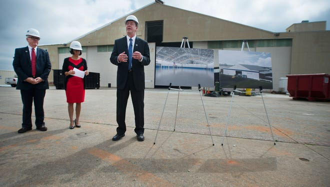 Don Erickson, site director for Lockheed Martin, shows off the hangar where they hope to build T-50A trainer jets for the U.S. Air Force in the South Carolina Technology and Aviation Center on Wednesday, May 18, 2016.
