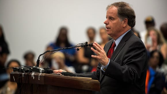 Doug Jones speaks during a parole hearing for Thomas Edwin Blanton Jr. on Wednesday, Aug. 3, 2016 in Montgomery, Ala. Blanton, a former Ku Klux Klan member, is the last surviving person convicted in the 1963 16th Street Baptist Church bombing in Birmingham that killed four black girls. Blanton was denied parole.