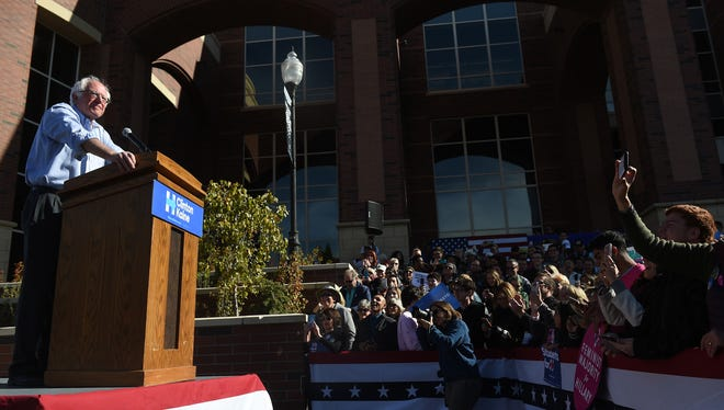 Senator Bernie Sanders  campaigns for Hillary Clinton on the campus of the University of Nevada, Reno on Oct. 19, 2016.