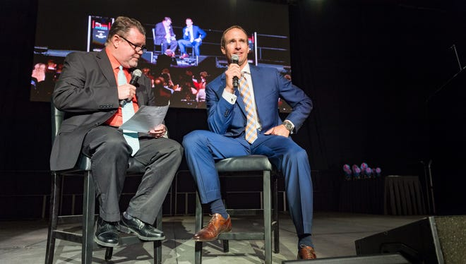 Drew Brees with Kevin Foote at The Advertisers Sports Awards at the Cajundome. Tuesday, May 15, 2018.