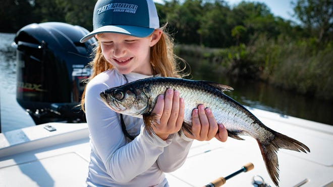 Seven-year-old Aven Derringer put her dad, Tommy, on her very first tarpon back up in Pellicer Creek this week. That one's as big as they get that size.