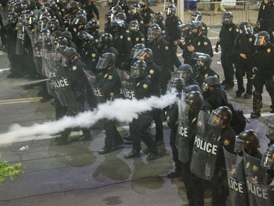 Protesters were gassed by Phoenix police outside of
