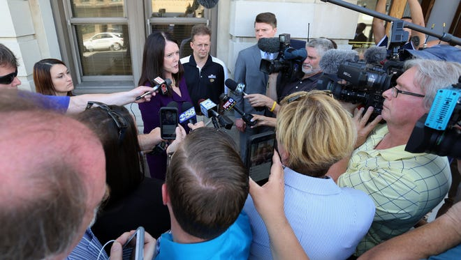 Attorney Kathleen Zellner speaks to the media in front of the Manitowoc County Courthouse Friday August 26, 2016 in Manitowoc.