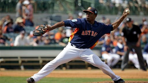 Houston Astros' Tony Sipp pitches against the Detroit Tigers in the fifth inning of a spring training baseball game.