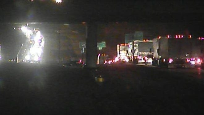 A crash reportedly involving a semi truck resulted the closure of I-74 at about 8:30 p.m., according to police dispatchers. A motorist was ejected from a smaller vehicle during the crash but was conscious when emergency officials arrived to the scene.