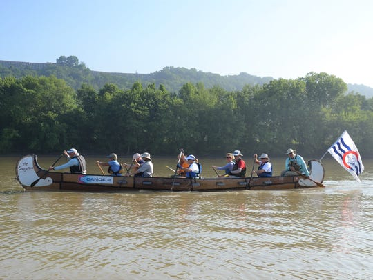 Paddlers from Cincinnati and Louisville headed downstream