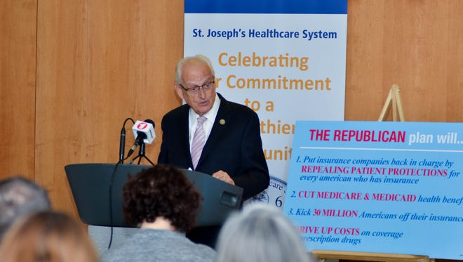 Rep. Bill Pascrell Jr. discussing the impact of repealing the ACA at St. Joseph's Regional Medical Center in Paterson on Monday.