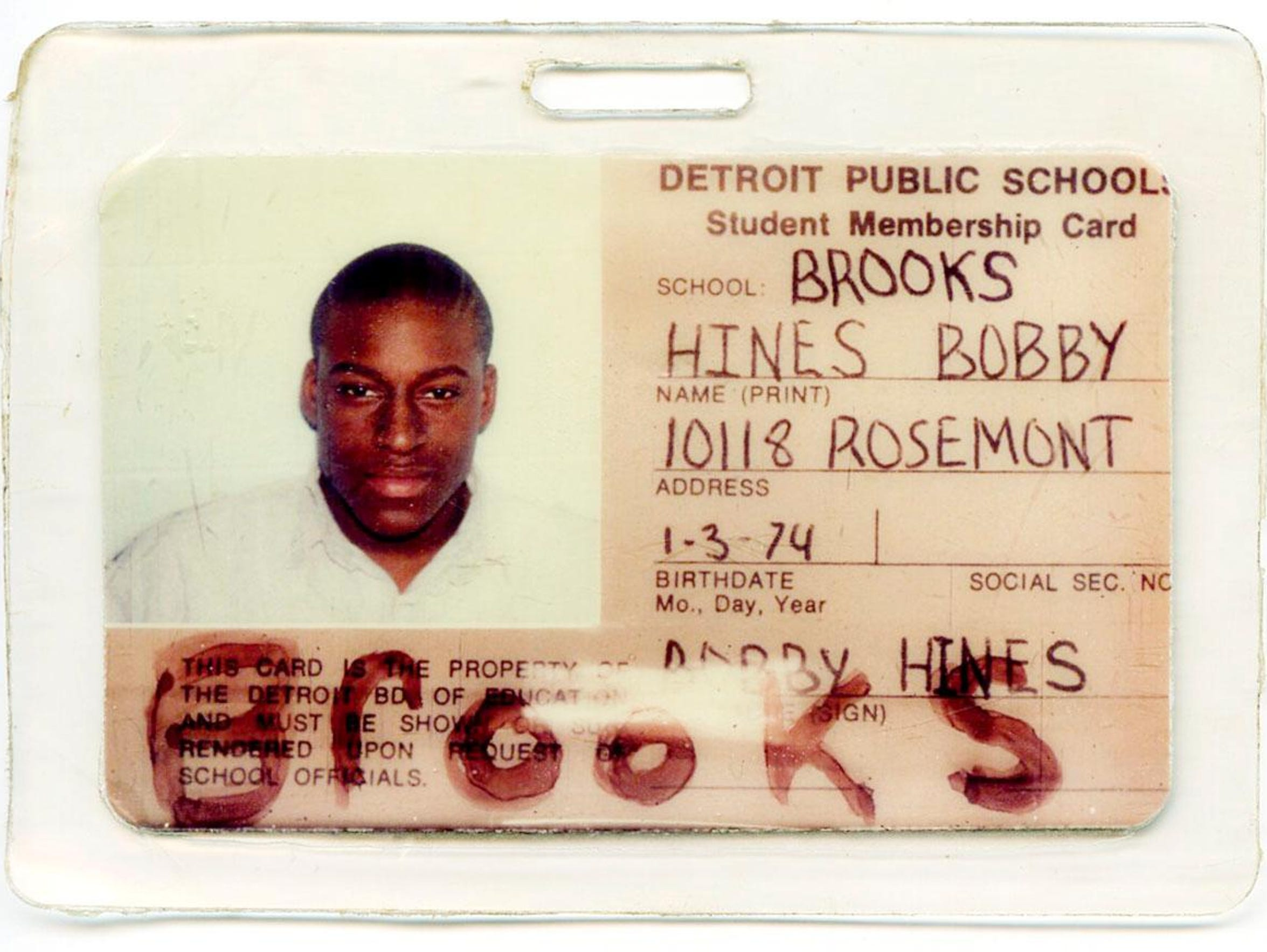 Bobby Hines ID from Brooks Middle School in Detroit.