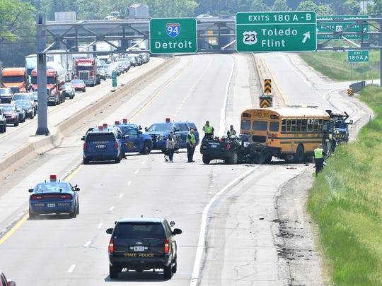Three infants were among the victims of an accident involving an SUV and a school bus on I-94 near U.S. 23 in Pittsfield Township that resulted in one dead and seven injured.
