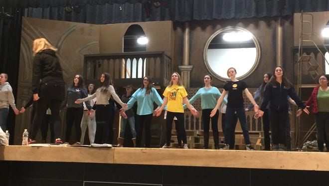 """Cedar Grove High School students rehearse on Thursday, Feb. 16, for their upcoming performance of """"Sister Act."""""""