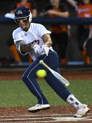 Kelly Kretschman takes a turn at bat during Tuesday's