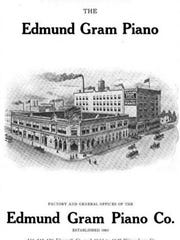 An advertisement for Edmund Gram Piano Company of Milwaukee, Wis.