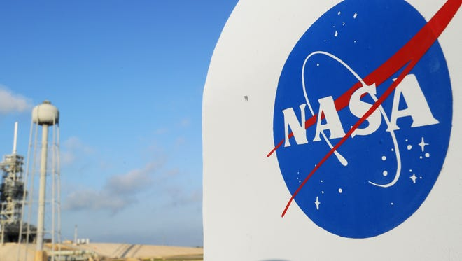 The NASA logo on a protective box for a camera at Kennedy Space Center.