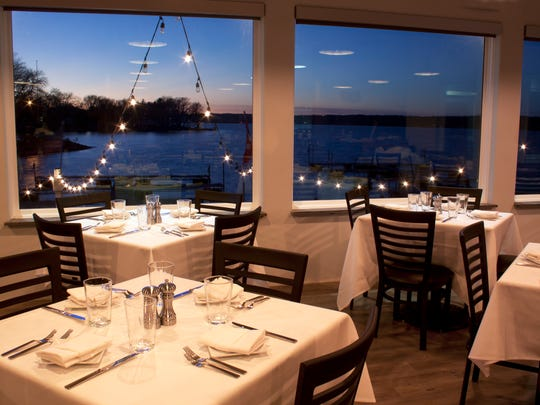 The dining room at Edgewater Supper Club overlooks Pewaukee Lake.