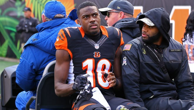 The 2016 seaosn may be over for Bengals wide receiver A.J. Green, who suffered a hamstring injury in the first quarter of Sunday's game vs. Buffalo.