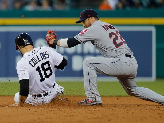 Detroit Tigers' Tyler Collins (18) beats the tag of Cleveland Indians second baseman Jason Kipnis (22) at second base, advancing on fly out by Michael Brantley during the fifth inning of a baseball game in Detroit, Wednesday, May 3, 2017. (AP Photo/Paul Sancya)