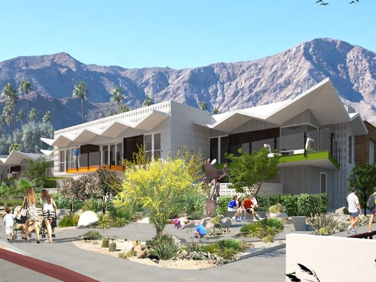 An architect's rendering of the development planned on South Palm Canyon Drive in Palm Springs. The project would build 81 homes on the 12.4-acre site.