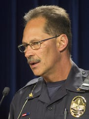 Glendale police Chief Dave Warman speaks at Tuesday's