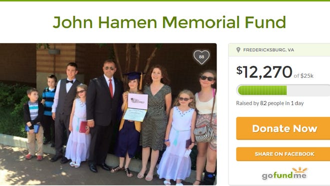 A photograph of a GoFundMe page in memory of John Hamen, who died last week in Yemen.