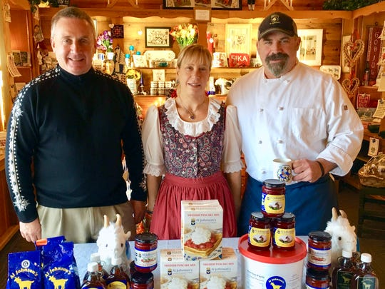 Three of the Johnson children, Lars, Annika and Rolf, run Al Johnson's restaurant along with their mother, Ingert. The restaurant also sells its own sweetened lingonberries, pancake mix and other products.