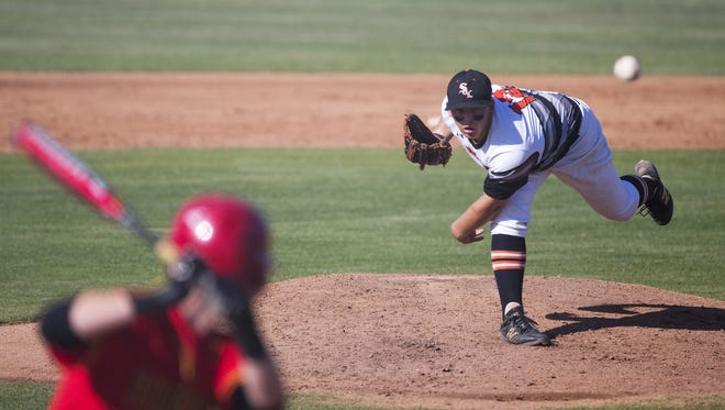 Corona del Sol pitcher Connor McCord throws against Chaparral during the second round of the high school state tournament in Tempe May 3, 2016.