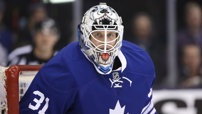 Maple Leafs goalie Garret Sparks looks on in his NHL debut at Air Canada Centre.