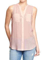 A perfect layering piece at a perfect price. Sleeveless button-front top, $22.94 at Old Navy.