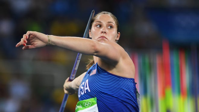Kara Winger of the United States competes during the Women's Javelin Throw Qualifying Round on Day 11 of the Rio 2016 Olympic Games at the Olympic Stadium on Tuesday.