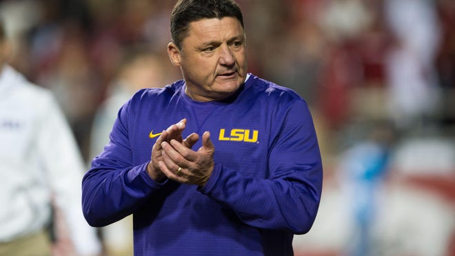 LSU coach Ed Orgeron is looking for a creative offensive coordinator.