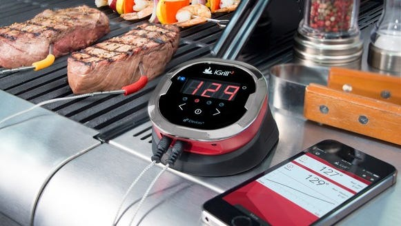 Now owned by barbeque maker Weber, the iGrill family of Bluetooth meat thermometers let you see the temperature inside your meat, via an app or small console.