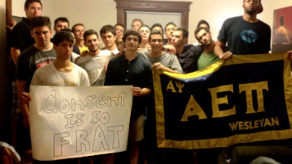 Members of Wesleyan University's AEPi fraternity standing in solidarity. (Photo by AEPi fraternity/Consent is So Frat)