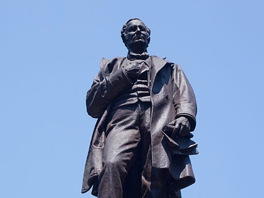 A statue of Thomas Hendricks, the 21st vice president,