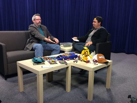 """""""NW Comic Show"""" with guest Chuck Magee of Wounded Rat Productions (left) and host Casey Ocupe."""