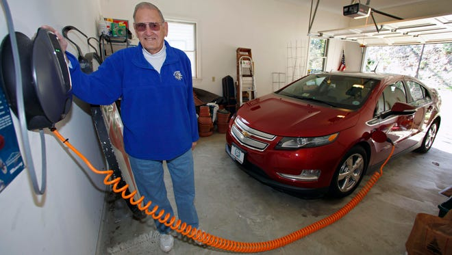 James Brazell poses with a charging unit for his Chevy Volt electric car at his home in Asheville, N.C., in this 2011 file photo