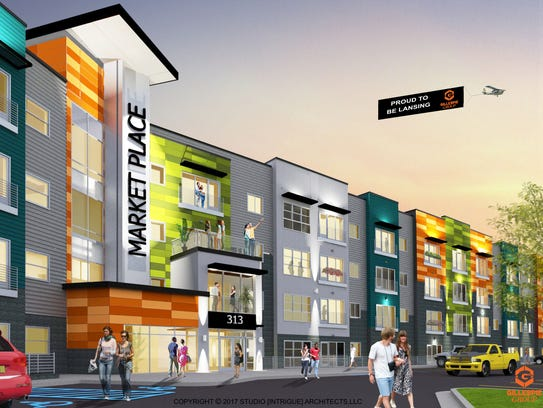A rendering of Gillespie Group's Marketplace Apartments