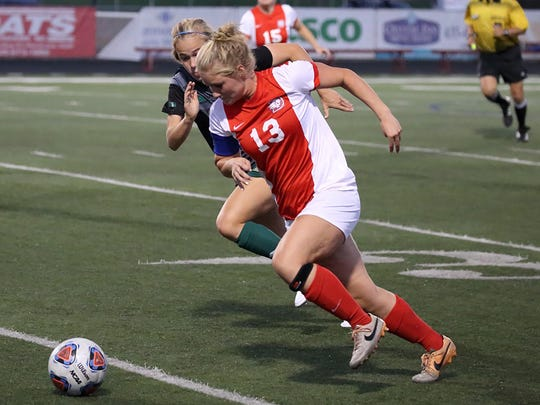 Dixie State forward Darian Murdock (#13) returns after a sensational year last year. Murdock was named the PacWest Player of the Year last season after leading the league with 12 goals.