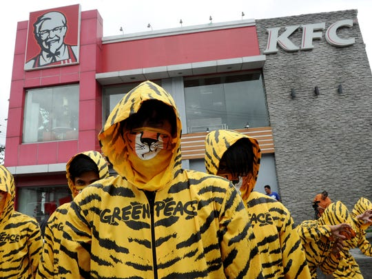 A 2012 Greenpeace protest against deforestation at a KFC in Manila. Greenpeace challenged KFC to establish a global policy to ensure its operation does not contribute to deforestation in Indonesia, home to the endangered Sumatran tiger.