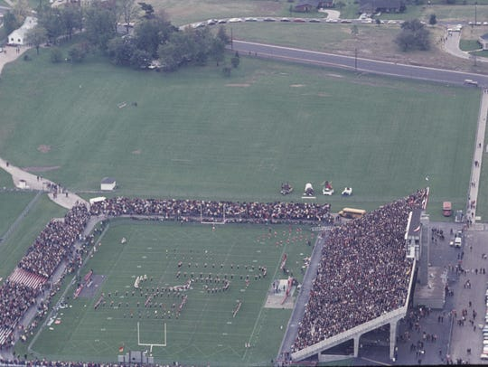 This overhead view of the Ball State Stadium shows