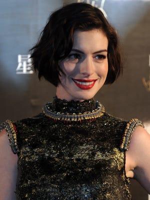 "Anne Hathaway attends ""Interstellar"" premiere at UME Cinema on November 10, 2014 in Shanghai, China."