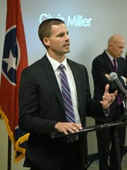 Chris Miller speaks about the effects of opioids on his family Tuesday, June 13, 2017, during a news conference where three district attorneys general announced a jointly filed a lawsuit against opioid manufacturers.