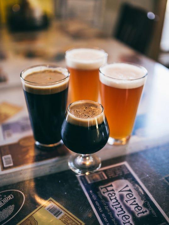 Dark Horse flight of beer