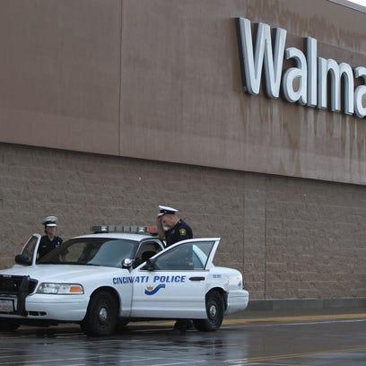 A Cincinnati police officers at the Westwood Walmart