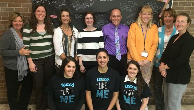 """A group of Maple Shade teachers, including Jennifer Braverman (bottom right), gather on """"Teach Like Me Day"""", a national effort to promote the teaching profession. Teachers across the country took part in the event where posts are made on social media sharing they they love what they do."""