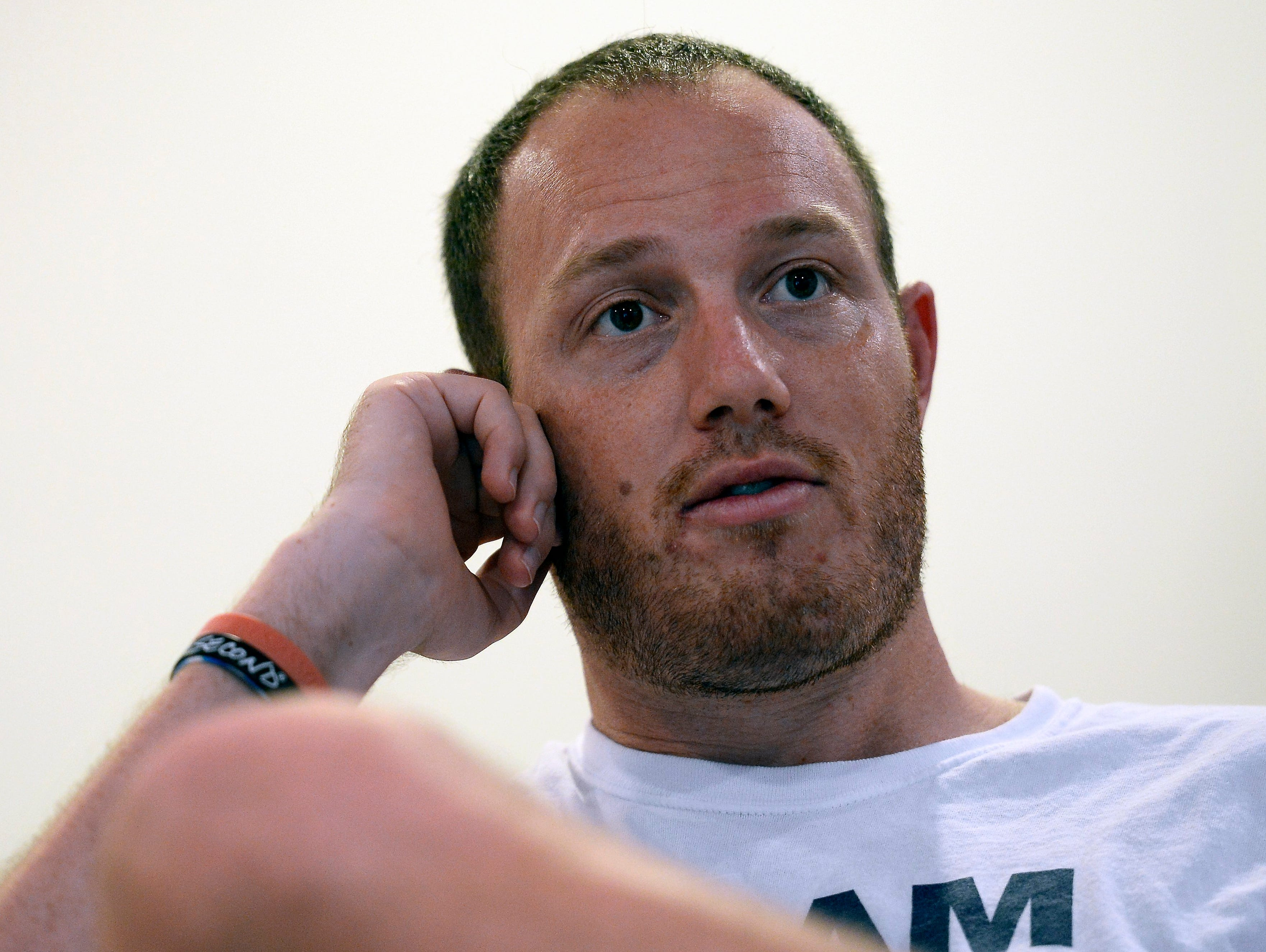Tim Shaw talks about his NFL career on Tuesday in Nashville Tenn.