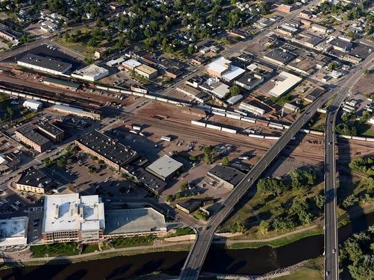 An aerial view of the Downtown Sioux Falls rail yard.