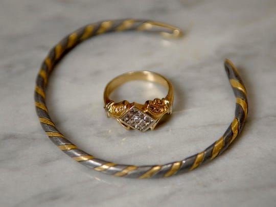 """Theses pieces were gifts to Stylemaker Lisa W. Jones  and some of her daily inspiration.  The bracelet was given to her by her husband of 33 years when they had been married for only a few years.  """"We didn't have a lot of money and he gave to to me, it really meant a lot,"""" she said.  The ring was a gift from her mother, """"she bought it in Israel and one day she just took it off her finger and gave it to me."""" March 21, 2017"""