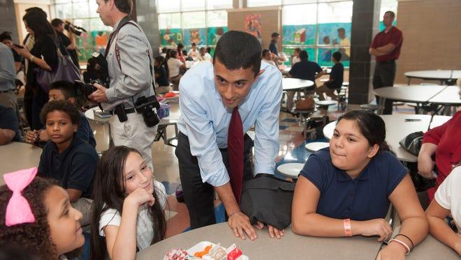 Gov. Chris Christie, Mayor Dana Redd and School Superintendent Paymon Rouhanifard visit Catto Community Family School in Camden. Tuesday, September 9, 2014.
