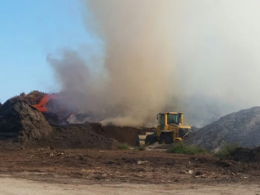 A fire in mulch at Country Lakes Farm in Buckingham